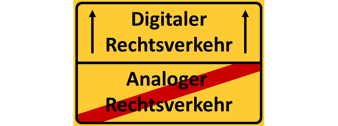 Digitaler Rechtsverkehr Schild